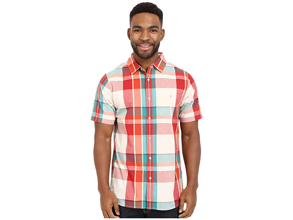 The North Face Short Sleeve Exploded Plaid Shirt (TNF White/Pompeian Red Plaid (Prior Season)) Men