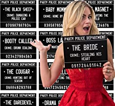 40 Unique Crimes on 20 Bachelorette Party Mugshot Signs! Game and Activity instructions included! These Photobooth Props are also a great idea for Birthdays, Girls Night Out, Stagettes and NYE!