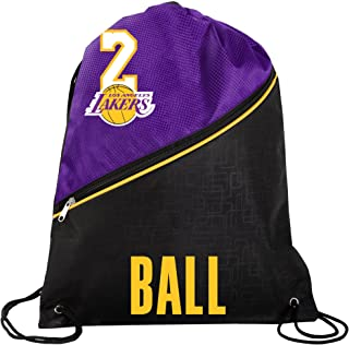 FOCO Los Angeles Lakers Official High End Diagonal Zipper Drawstring Backpack Gym Bag - Lonzo Ball #2