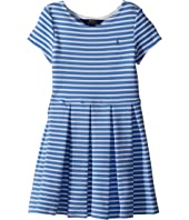 Polo Ralph Lauren Kids Striped Ponte Pleated Dress (Little Kids)