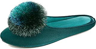 BCSTUDIO Women's Furry Tassel Pom Memory Foam House Slippers with Non Slip Rubber Sole