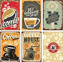 Set of 6, 11x17 Coffee Poster Decorations | Coffee Wall Art Signs Perfect for Kitchen Decor | Perfect Coffee Station Decorations for Coffee Lovers | Cool Sets of Coffee Posters for Home Decorations