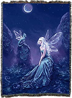 Pure Country Weavers Luminescent Fairy Blanket and Woven Wall Hanging Tapestry with Fringe 72x54 Cotton USA