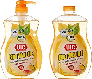 UIC Big Value Dishwashing Liquid Pump Anti-Bacterial, 1000ml (Pack of 2)