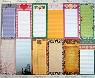 Creative Hobbies Magnetic Memo Note Pads, Seasonal Monthly Themes, Set of 12 Pads (1 Complete Year)