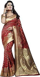 Maahik Women's Kanchipuram Cotton Silk Printed Saree With Blouse Piece (VR_SWMK1312_Red)