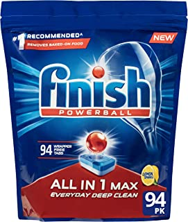 Finish Powerball All in 1 Max Dishwasher Tablets, Lemon, 94 Pack
