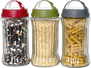 Red Co. One-Size Clear Ribbed Glass Round Food Storage Jars with Colored Lids, Large, Set of 3