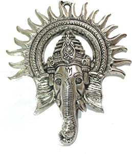 IndianStore4All Silver Color Shri Ganesha Idol Wall, Door Hanging For God of Prosperity, Good Luck And Success (8.5 Inches)