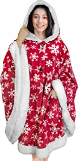 PAVILIA Angel Wrap Hooded Blanket Sherpa Lining   Poncho Blanket Wrap with Warm Fleece Sherpa   Plush, Soft, Wearable Thro...