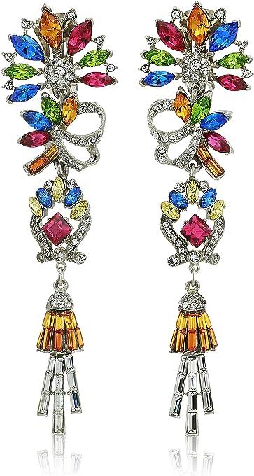 "Ben-Amun Jewelry Crystal Collage Swarovski Bridal Wedding Multi-Color Clip Drop Earrings, 4.5"" Length, 1.2"" Width"
