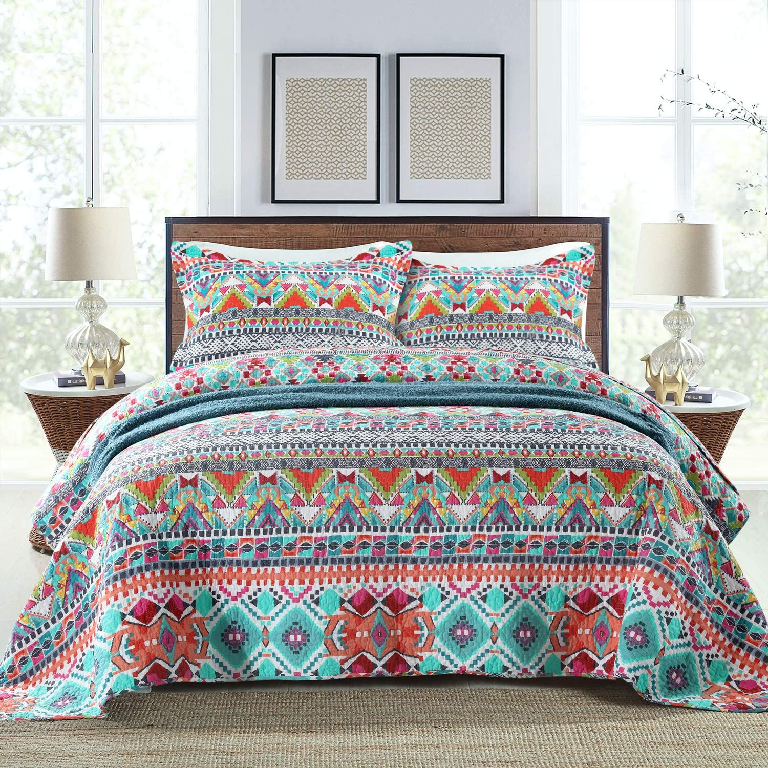 NEWLAKE Cotton Bedspread Quilt Patchwork Coverle Sets-Reversible Max 86% OFF Ranking TOP4
