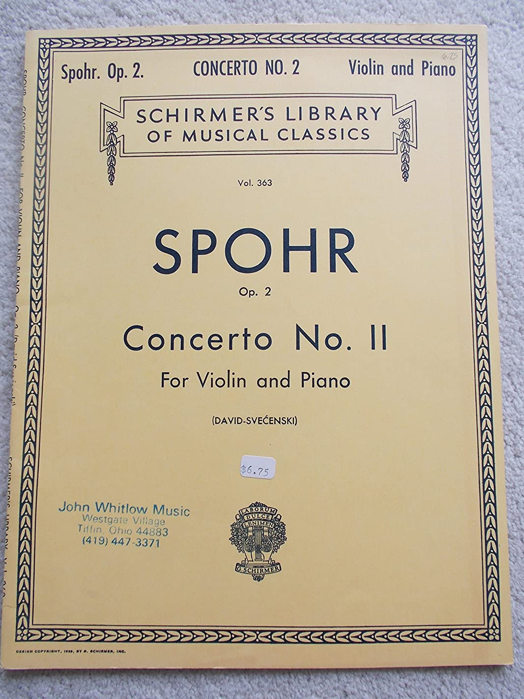 Spohr Concerto No. 2 for Violin and Piano (Op. 2) (Schirmer's Library of Musical Classics, Vol. 363)