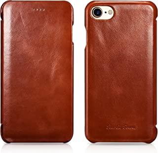 Rustic Town iPhone 8 Leather Case - Genuine Leather iPhone 7 Case - Vintage Folding Flip Case - Shockproof Slim Fit Cover for Apple iPhone 8 (2017) / iPhone 7 (2016) 4.7 Inch