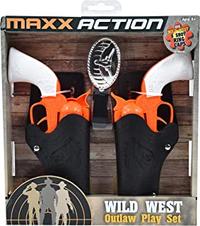Sunny Days Entertainment Maxx Action Western Series Toy Cap Pistol Play Set with 2 Cap Shooting Pistols, Western Belt, Holster & Western Belt Buckle - Blaze Series Shippable to NY & CA