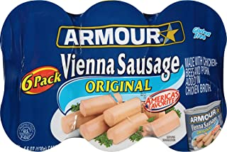 Armour Vienna Sausage, Original, Keto Friendly, 4.6 Ounce, 6 Count