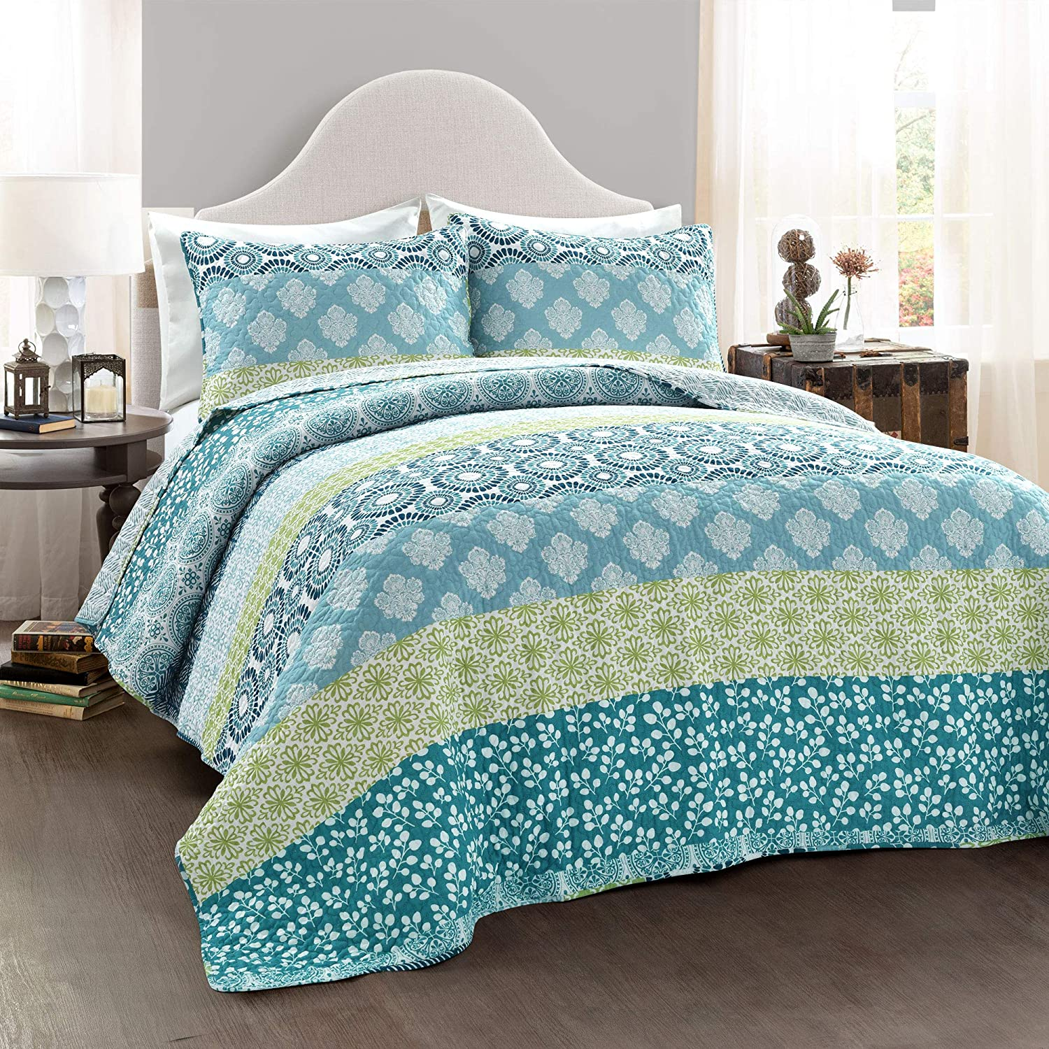 Lush Decor Bohemian Striped Quilt Reversible 3 Piece Bedding Set, King, Blue and Green
