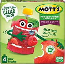 Mott's No Sugar Added Mixed Berry Applesauce, 3.2 Ounce (Pack of 24) Clear Pouch, 4 Count, Perfect for on-the-go, No Added...