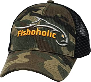 Fishoholic Baseball Fishing Hat ~ 6 Colors & 3 Sizes. Fish Logo on Trucker Snap Back or Flexfit ~ Fishaholic Reg Trademark ~ Great Gift Ocean Saltwater Fly Trout Bass if You Hunt Quad BBQ Tailgate.
