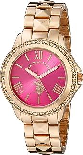 U.S. Polo Assn. USC40080 Reloj dorado rosa de cuarzo con visualización analógica para mujer
