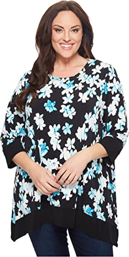 Plus Size Three-Quarter Sleeve Printed Sharkbite Top