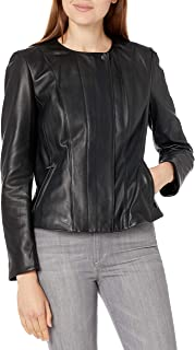 Cole Haan womens Cole Haan Butter Lamb Leather Jacket