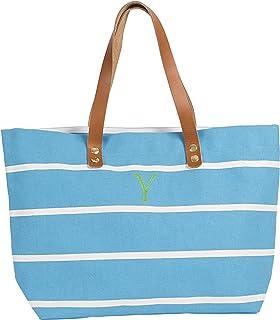 حقيبة يد مخططة مخصصة بمقابض جلدية من كاثي كونسيبتس، أزرق فاتح، حرف Y