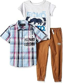 Ecko Little Boys' Short Sleeve Woven Shirt, T-Shirt, and Pant Set