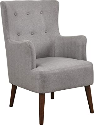 """Angelo:HOME Jane Mid Century Modern Upholstered Living Room Tufted Accent Armchair, 26.38"""", Grey"""