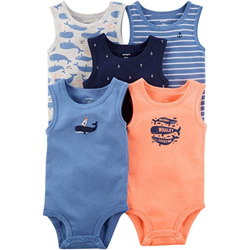 8cb7df844 Carter's Baby Boys' 5 Pack Whale Tank Top Originals Bodysuits