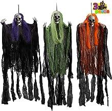 """3 Pack Halloween Grim Reapers, 35.3"""" Halloween Skeleton Ghost Decorations, Halloween Hanging Decoration for Haunted House Prop Décor, Best Halloween Outdoor Indoor Decor"""