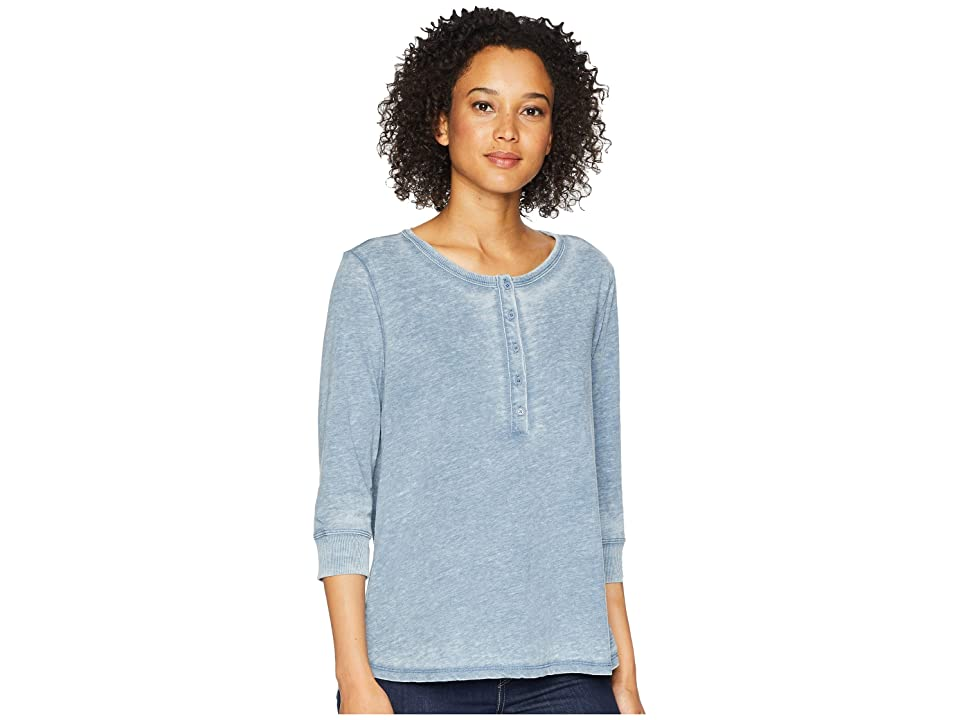 Dylan by True Grit Bowery Burnouts 3/4 Sleeve Button Henley Tee (Splash) Women