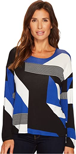 Tribal - Long Sleeve Printed Jersey Scoop Neck Top