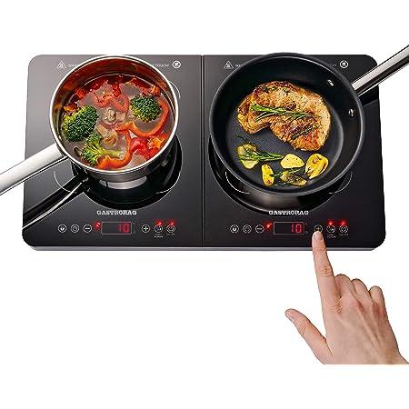 Gemlux Double plaque de cuisson à induction 3400 W – économie d'énergie, vitrocéramique, capteurs tactiles, 10 niveaux de température 60-240 °C, minuterie 180 min, double plaque à induction