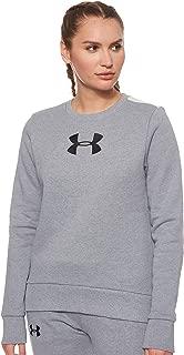 Under Armour Women's Originators Fleece Crew Logo Sweatshirt, Grey (Steel Light Heather/Apex Pink Black), Small