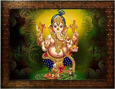 Indianara Lord Ganesha Painting -Synthetic Wood, 27x30.5x1cm, Multicolour