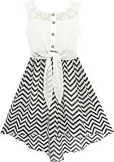 Sunny Fashion Vestido para niña Encaje a Gasa Rayado Negro Blanco Cintura Atada 7-14 años