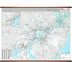 MarketMAPS Philadelphia-Camden-Wilmington, PA Metro Area Wall Map - 2018 - ZIP Codes - Laminated with Wooden Rails - 64 x 48 inches