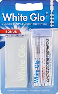 White Glo Flexible Dental Flosser Toothpicks, Developed to Easily & Comfortably Clear Food Particles Between Teeth, Bonus ...