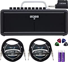 BOSS Katana Air Bluetooth Guitar Amp with Wireless Transmitter Bundle with 2-Pack of Blucoil 10-FT Straight Instrument Cables (1/4in), 4-Pack of Celluloid Guitar Picks, and 2 AA Batteries