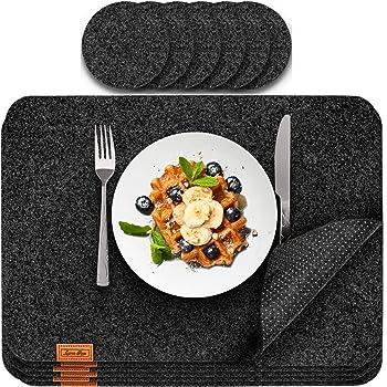Platzset abwischbar aus Filz inkl. Glasuntersetzer | 12er Set | Tischset abwaschbar 44x32 cm Filzuntersetzer Platzdeckchen abwaschbar in Anthrazit