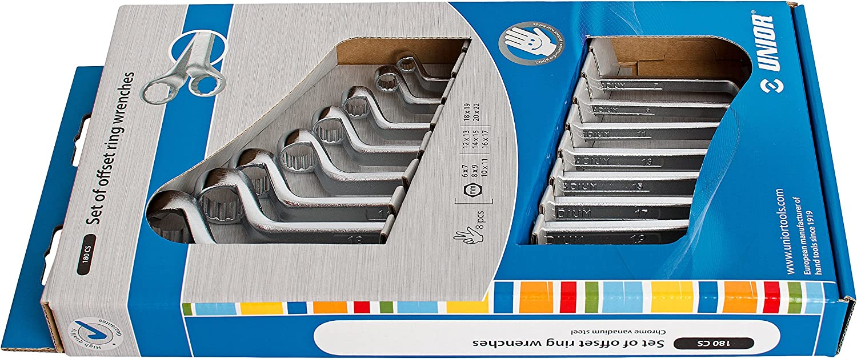 Unior 180 180 180 1CS Doppelringschlüssel-Set, tief gekröpft im Sichtkarton B00BOV53NS | Moderner Modus  7650a5