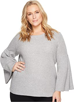 Vince Camuto Specialty Size - Plus Size All Over Rib Bell Sleeve Sweater