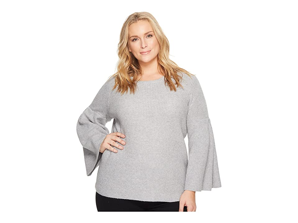 Vince Camuto Specialty Size Plus Size All Over Rib Bell Sleeve Sweater (Light Heather Grey) Women