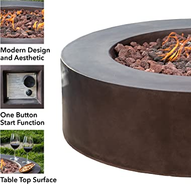 """Propane Fire Pit - Outdoor Patio - Fire Pit Table - Stainless Steel Burner Patio Heater with Lava Rocks and Cover - 42"""" R"""