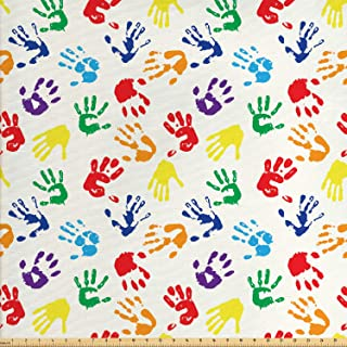 Lunarable Paint Fabric by The Yard, Colorful Hand Shapes Fingerprints Rainbow Palette Abstract Children Activity Pattern, Decorative Fabric for Upholstery and Home Accents, 2 Yards, Red Blue