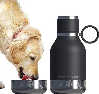 Asobu Dog - Ciotola per animali da viaggio in acciaio inox isolato, 935,5 g (nero)