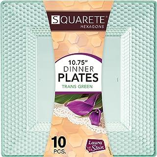 Squarete Hexagons Translucent Green Hard Plastic Elegant Disposable Plates, Bowls & Cups (1, 10