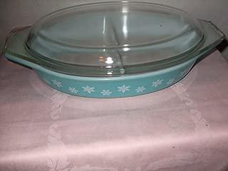 Vintage 1957 Pyrex Teal & White Snowflake 1 1/2 Quart Oval Divided Cinderella Baking Dish Casserole w/ Lid USA