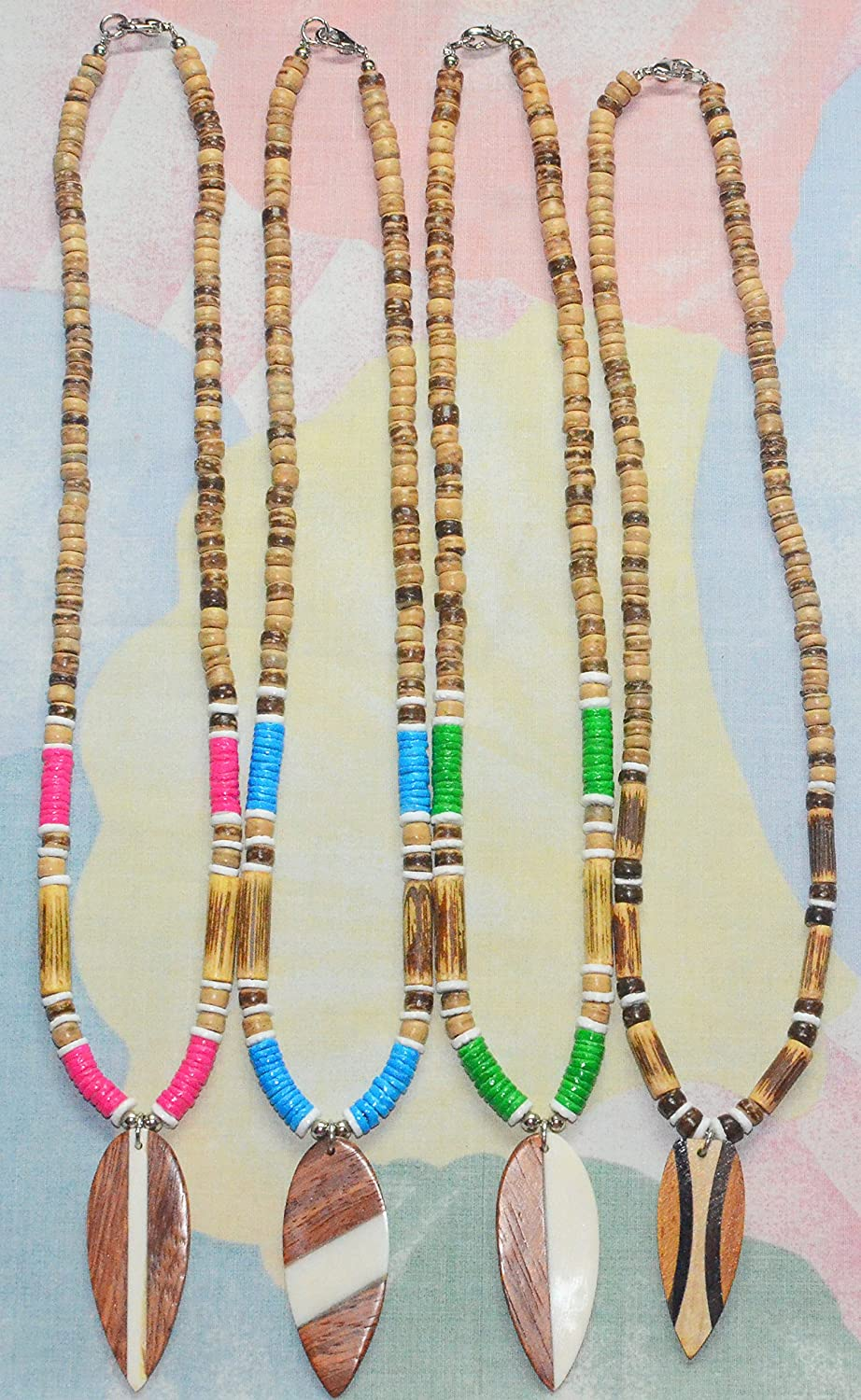 Native Treasure - 12pcs Party Pack 5mmTiger Coco Wood Bead, Color Heishe Puka Shell Surfboard Pendant Necklaces, Lobster Clasp